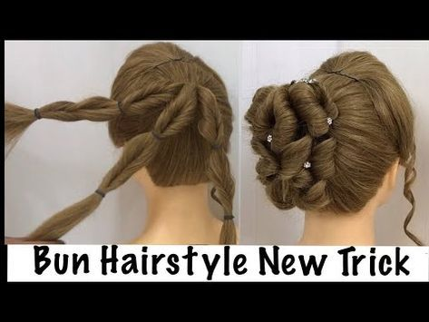 Easy Bun Hairstyle with Trick for Wedding & party   prom Updo Hairstyles - YouTube   Bun ...