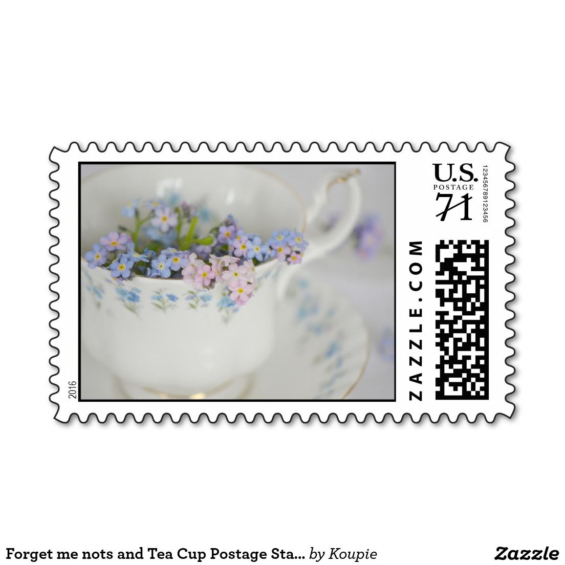 Forget me nots and Tea Cup Postage Stamps