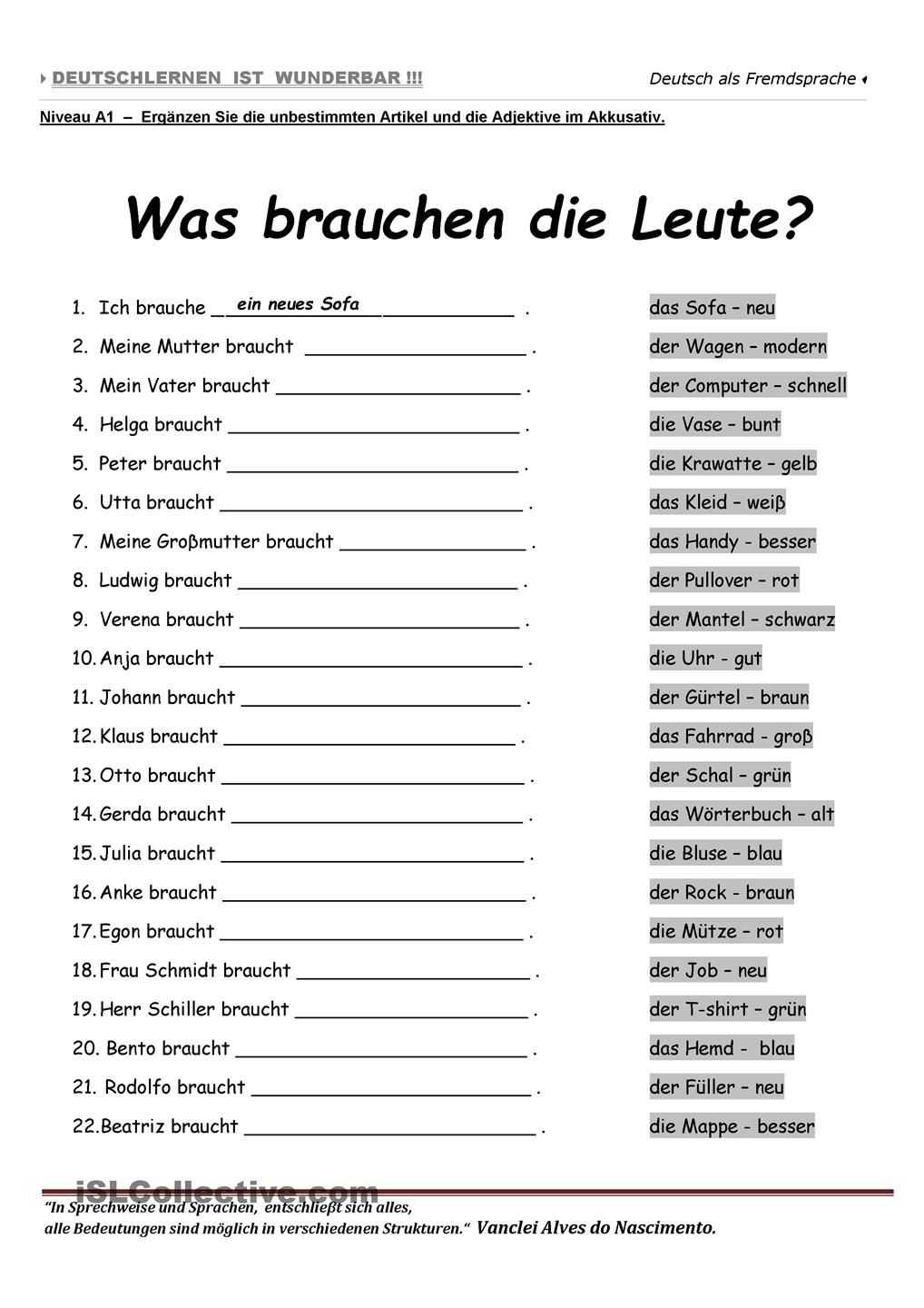 A1 Was brauchen die Leute ? German, Deutsch and Language