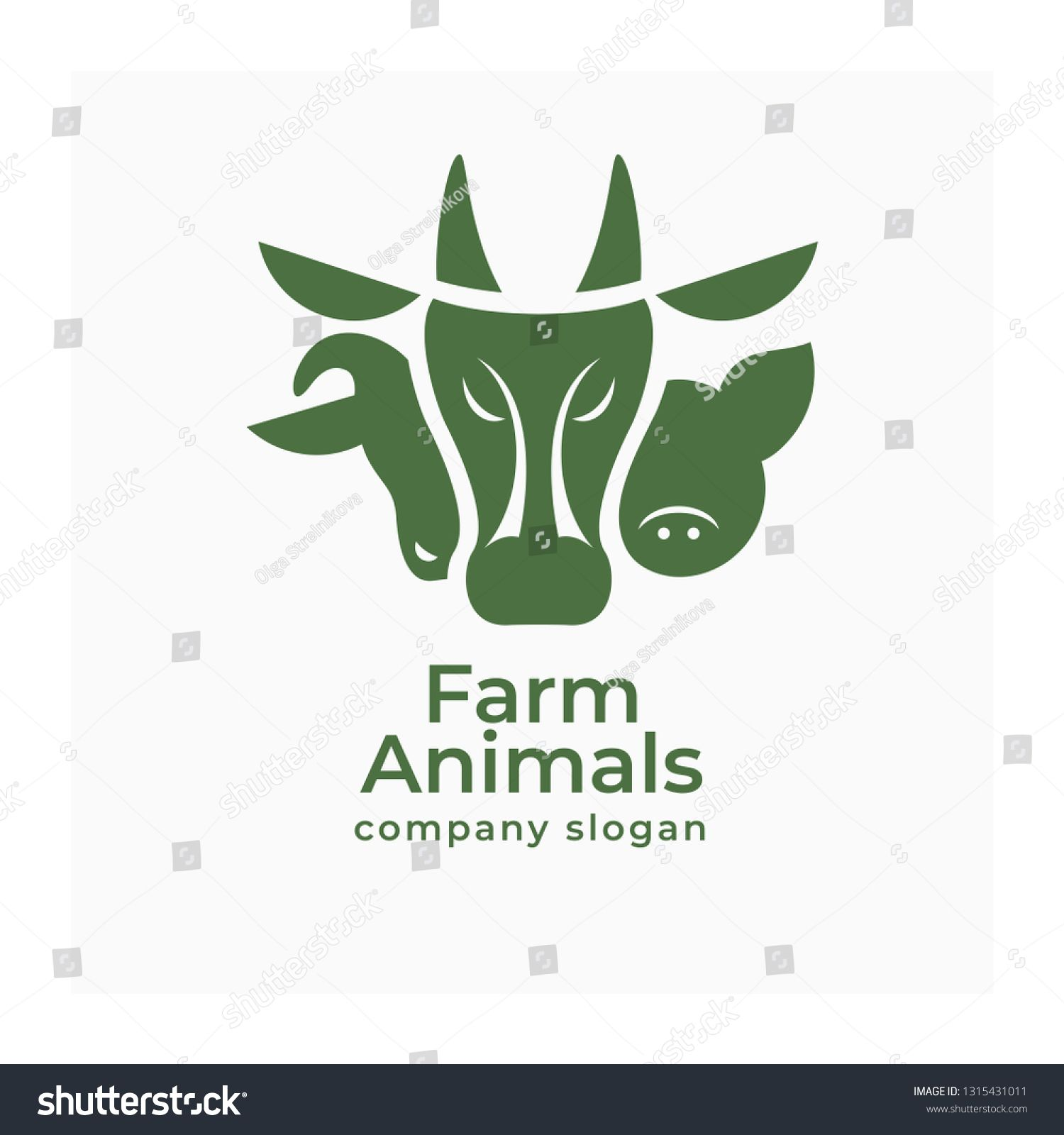 Agricultural animals logo. Vector sign of cow, pig and ram