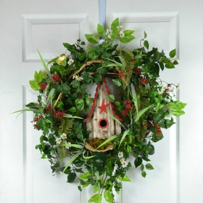 Barn Birdhouse Summer Door Wreath designed as nature intended by Gaslight Floral Design.