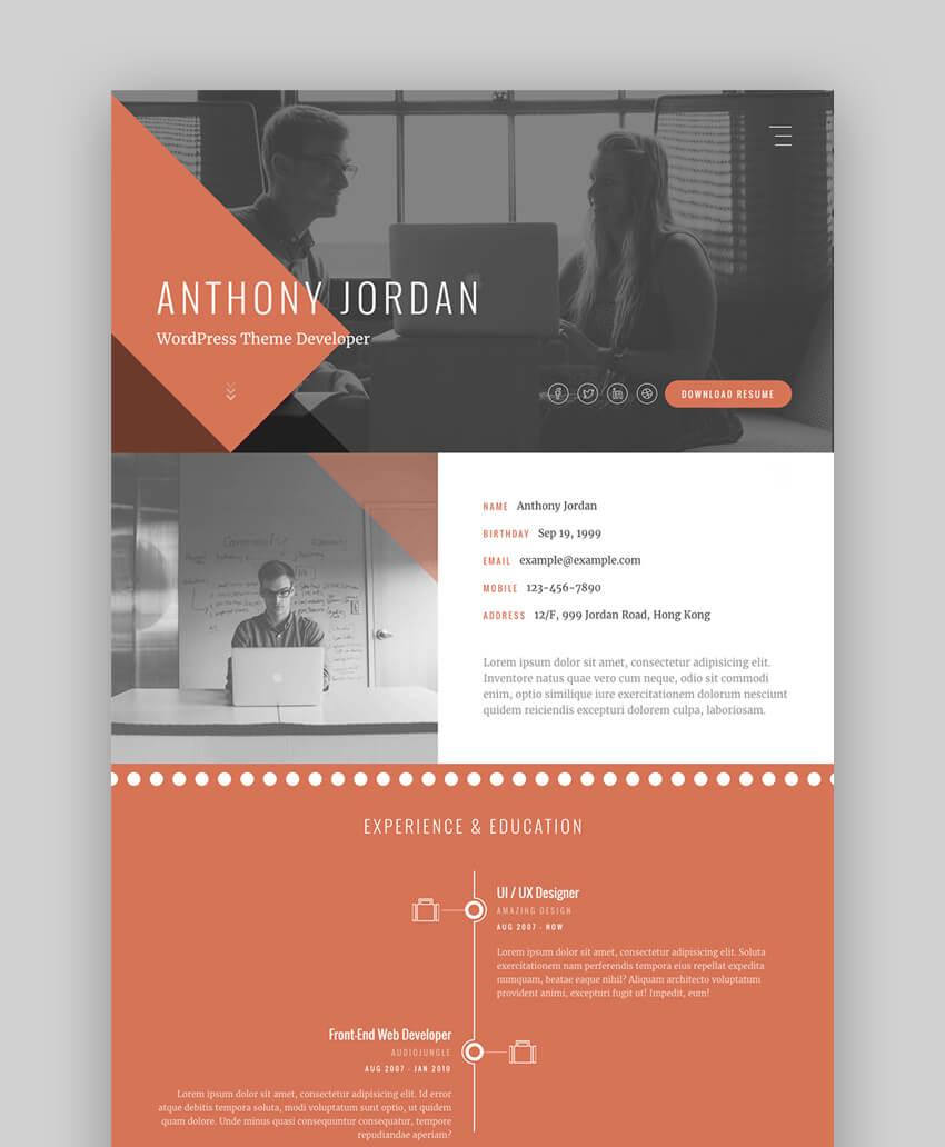 Material Cv Resume Vcard Resume Cv Design Template Profile Website