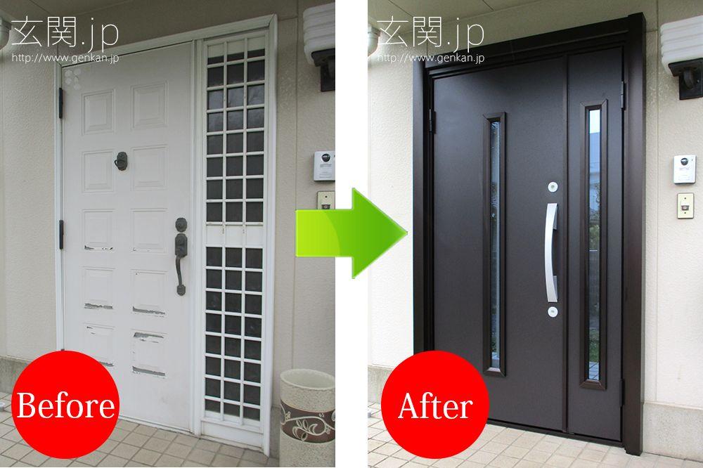 パナホームの玄関ドア交換施工例 軽量鉄骨のプレハブもリフォームok