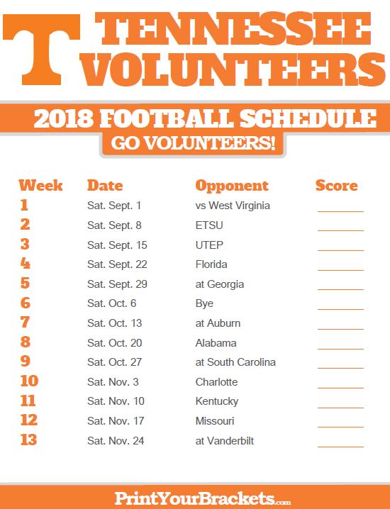 Ut Longhorns Football Schedule 2019 2018 Printable Tennessee Volunteers Football Schedule | Denver