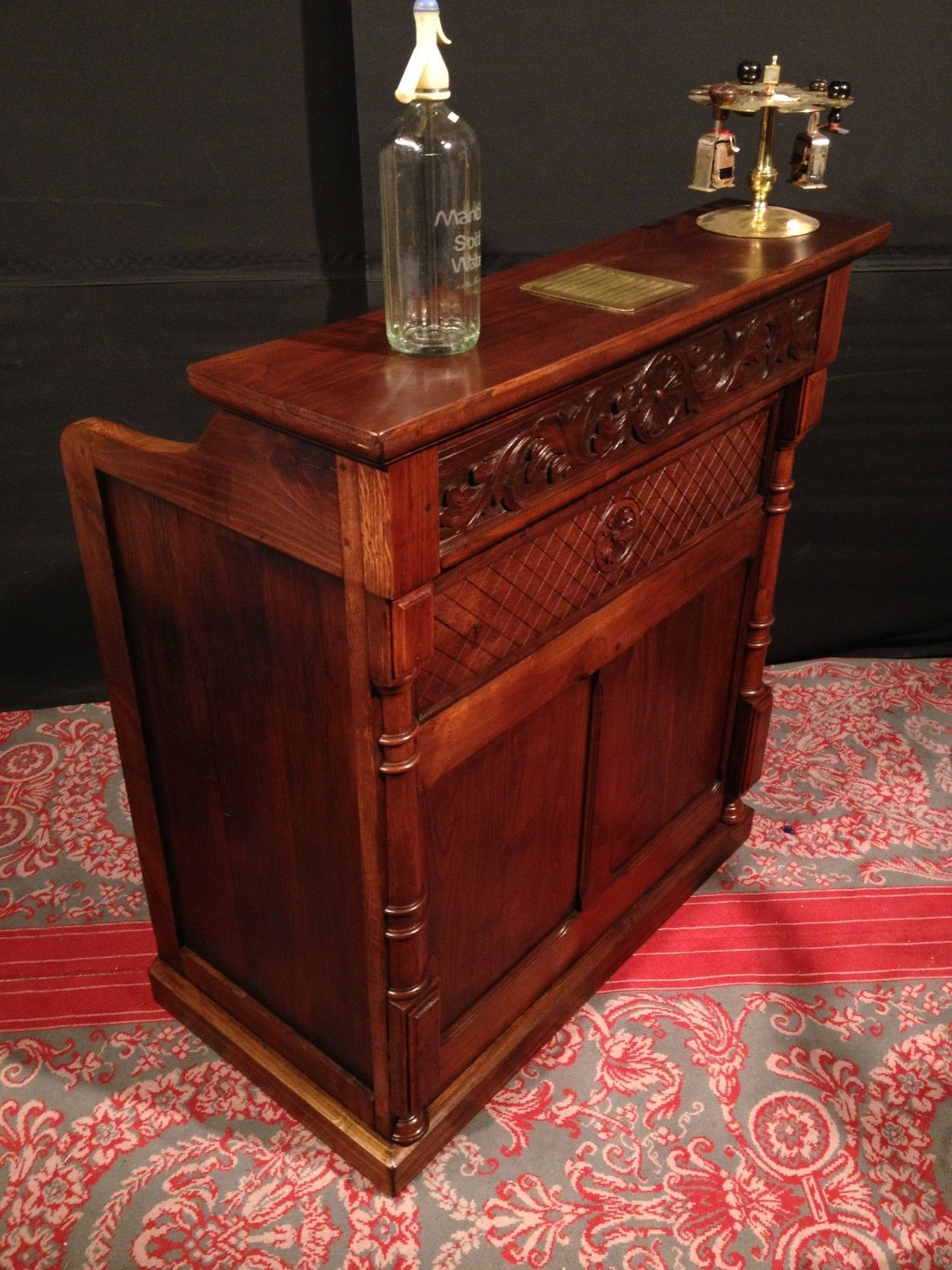 Ancien comptoir caisse bois de ch taignier bar meuble for Meuble comptoir
