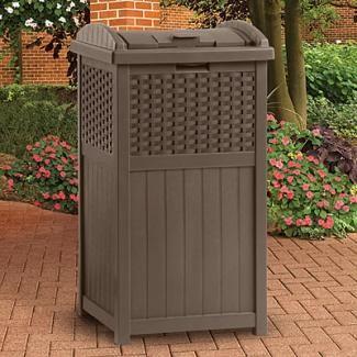 25 Gallon Wicker Mocha Trash Can Ghw1732 For Deck Or Patio