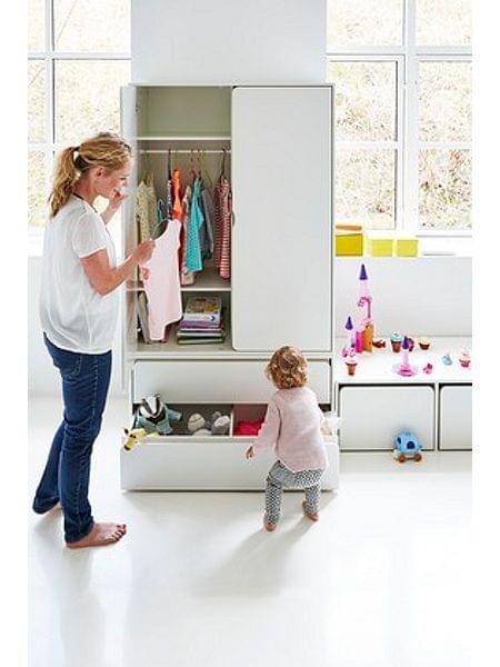 Flexa Cabby High Single Wardrobe White Niedriger Kleiderschrank Moderne Kindermobel Kleiderschrank