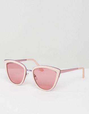 7f1bb97af8965 Gafas de sol ojos de gato con detalle de metal y lentes de color rosa de  ASOS