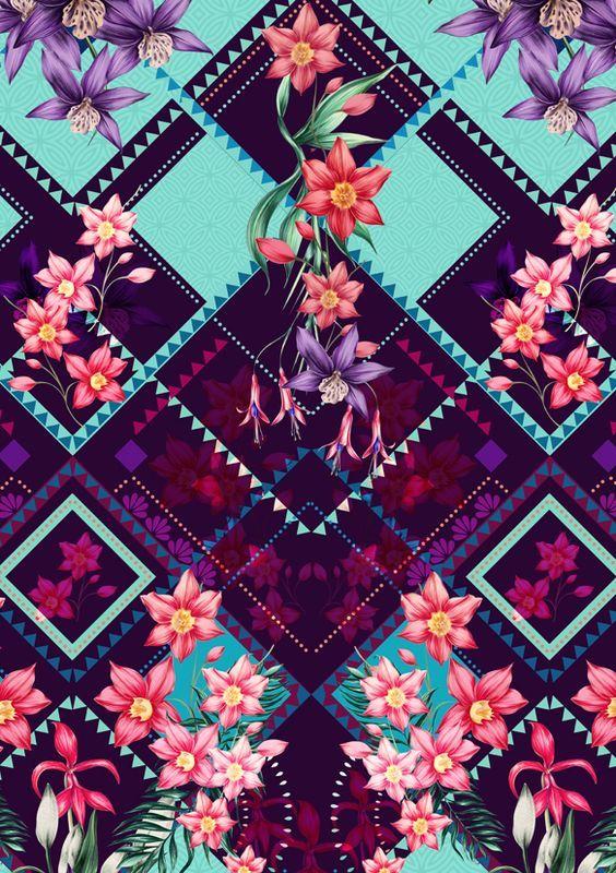 Estampa geométrica com flores: