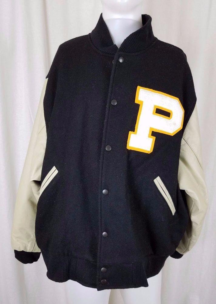 Vintage University Sports Black Wool Leather P Varsity Letterman Jacket Mens Xxl Universitysportsappar Varsity Letterman Jackets Mens Jackets Letterman Jacket