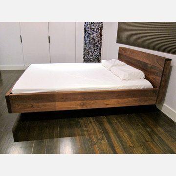 Floating Walnut Platform Bed Floating Bed Frame Bed Frame