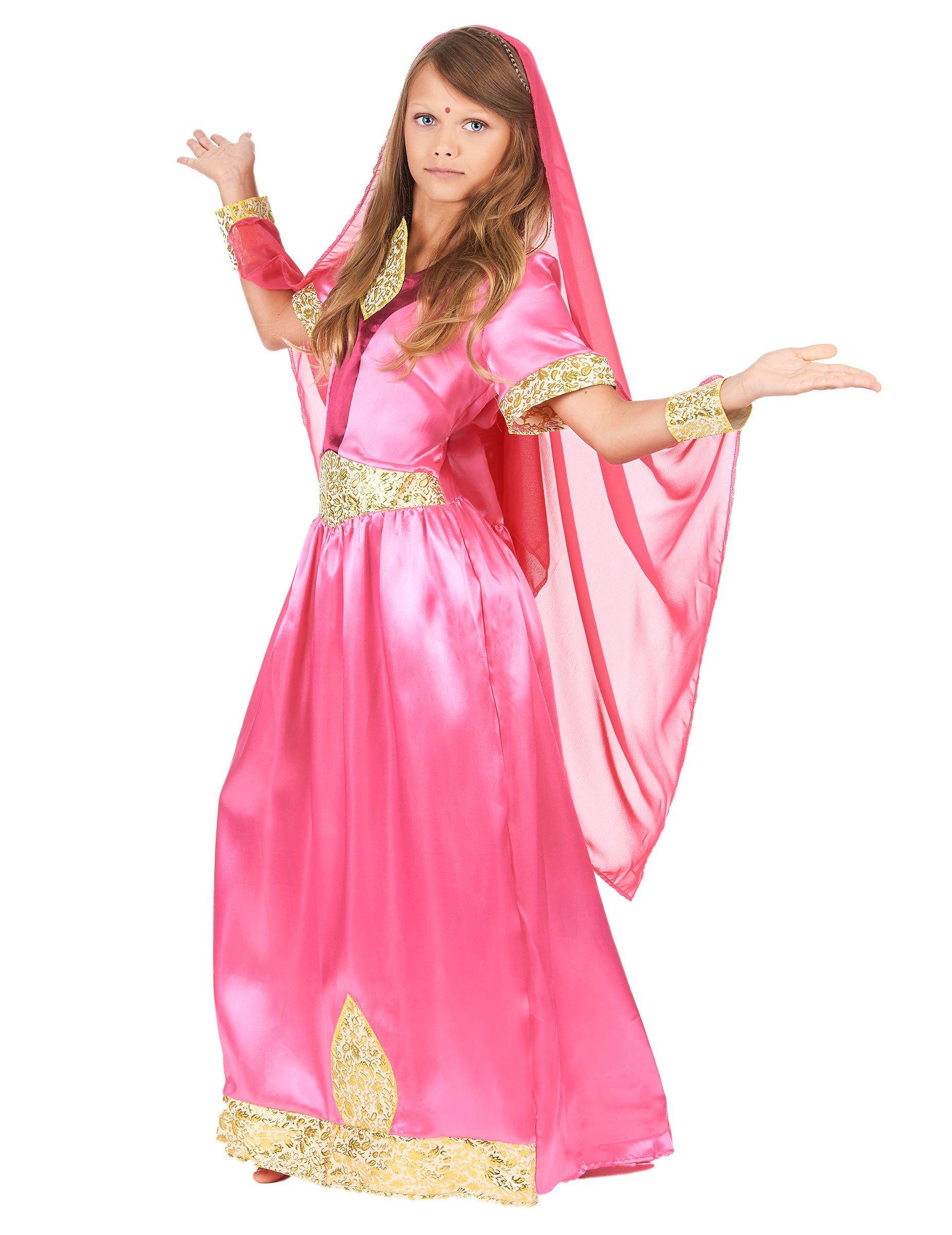 9e06a4a7d087f Déguisement princesse bollywood rose fille-1