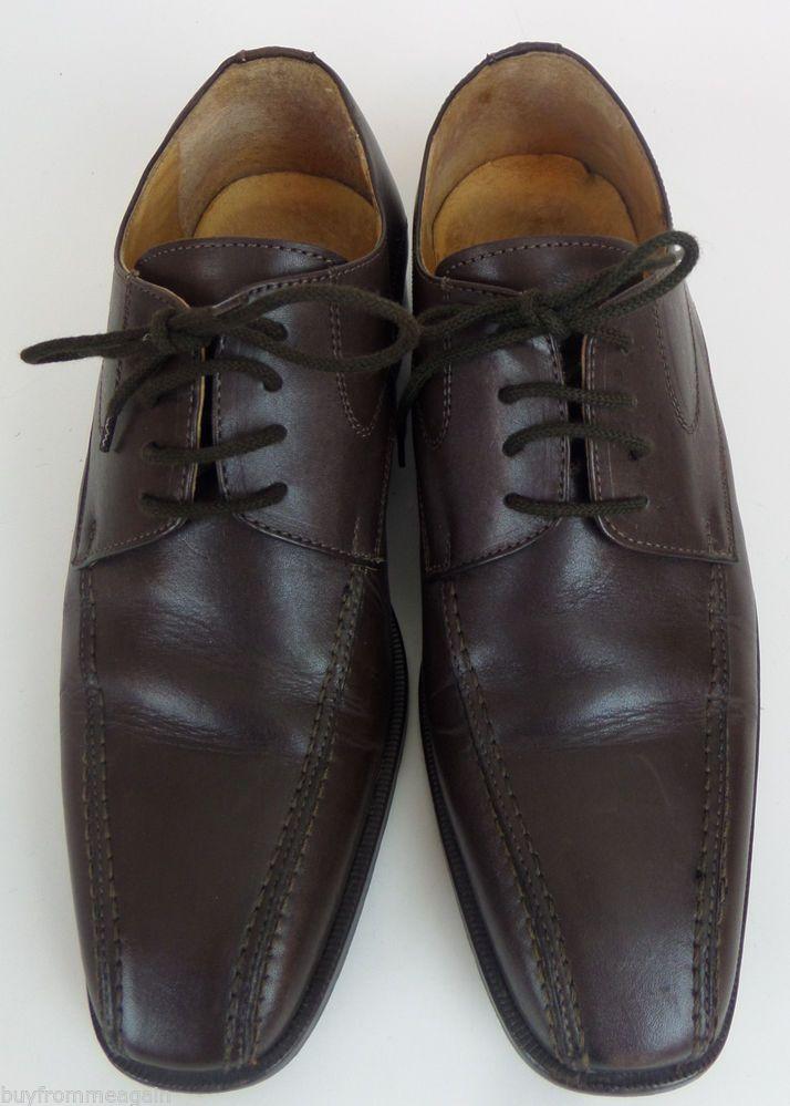 e0e16e0b503 Gigi Nero Leather Brown Shoes Men 40 Laces Oxfords Made in Italy 9.5
