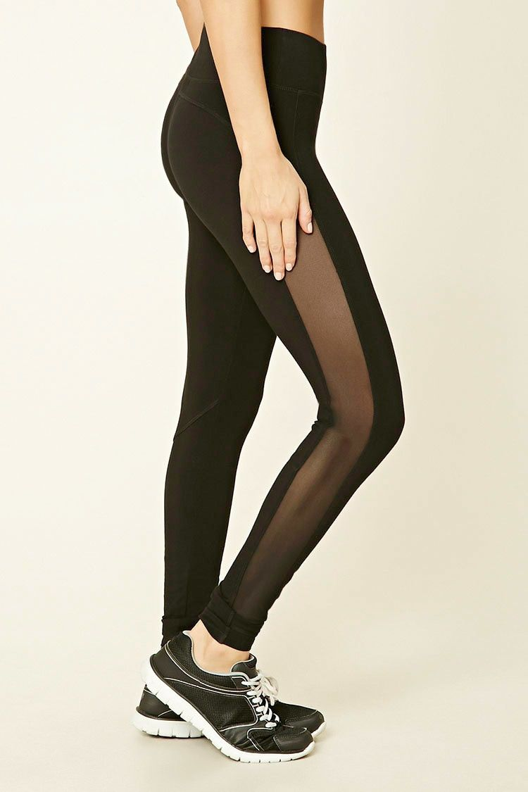 A pair of knit cotton-blend leggings featuring high-cut mesh ...