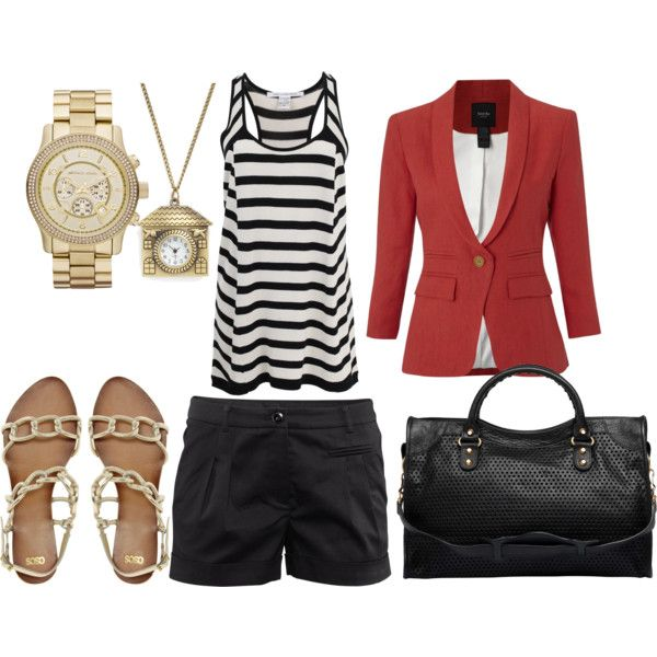 Black Shorts, Red Blazer, and Hints of Gold