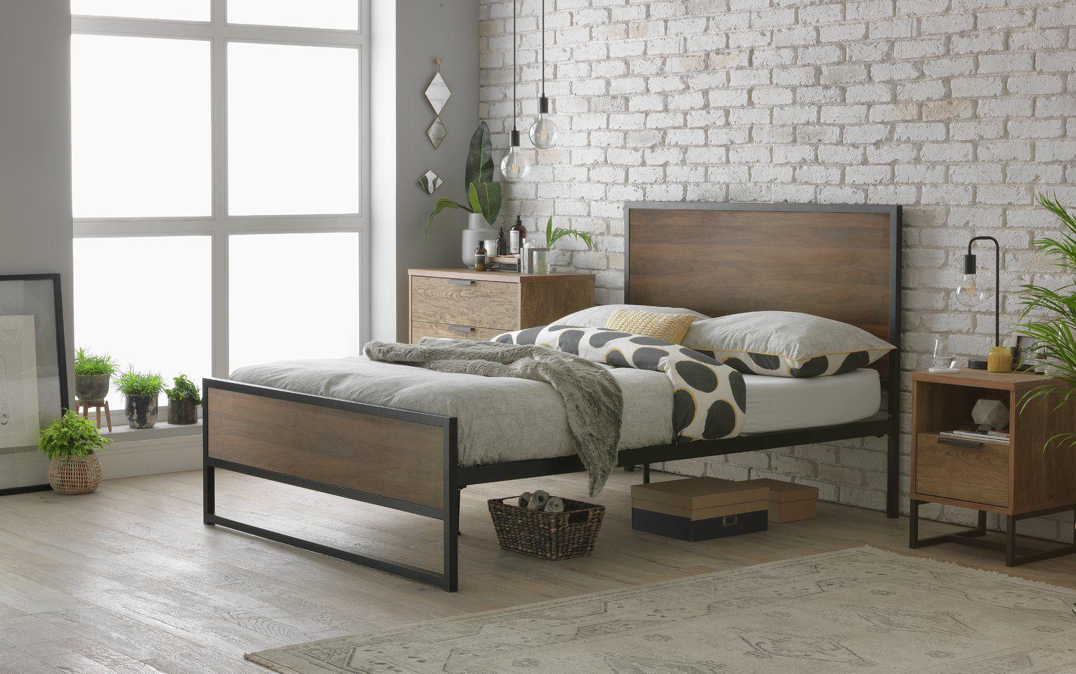 Buy Habitat Nomad Kingsize Bed Frame Black And Wood Bed Frames Argos Floor Lounging Bed Frame Double Bed Frame