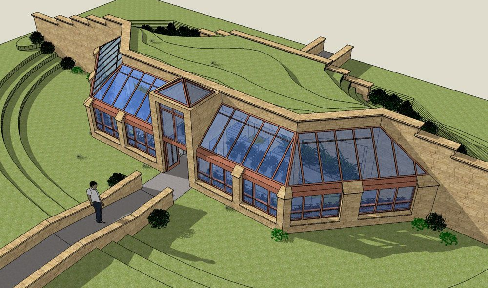 Earthship greenhouse designs production green house near for Earth sheltered home design
