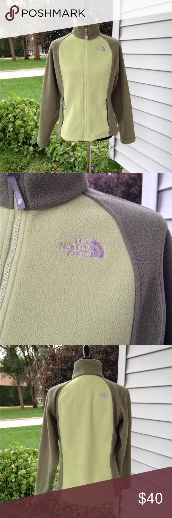 Women's north face fleece Women's 2 toned green north face full zip fleece. Good used condition. North Face Tops Sweatshirts & Hoodies