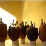 Seres Nido - Serie de 5 piezas - Escultura, ensamblaje, encáustica - Pilar Barrios.