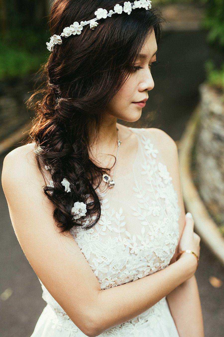 Paul and lurvies simple elegant wedding at capella and st regis white flower crown with beautiful tresses and flower patterned wedding dress top paul and lurvies pledged to spend the rest of their lives together amid izmirmasajfo