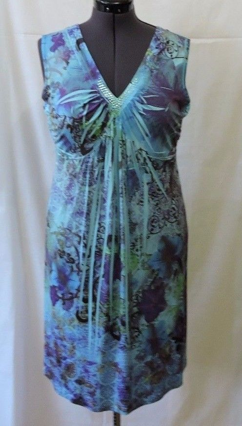 New Style & Co Blue Floral Sleeveless Dress Size L #StyleCo #Cocktail