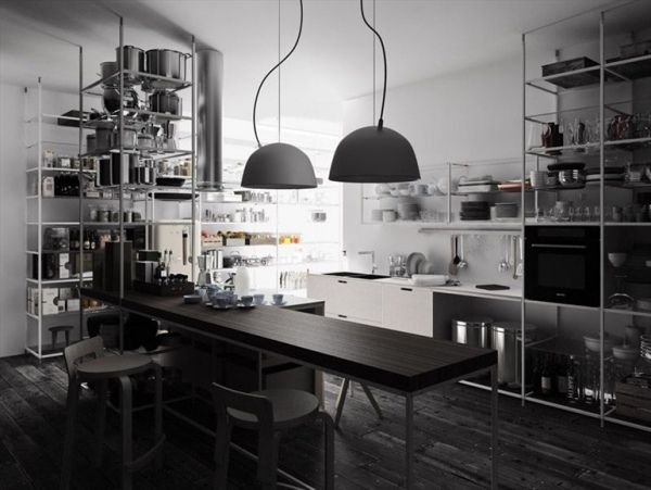 küche industrie inspiriert pendelleuchten bb kitchen