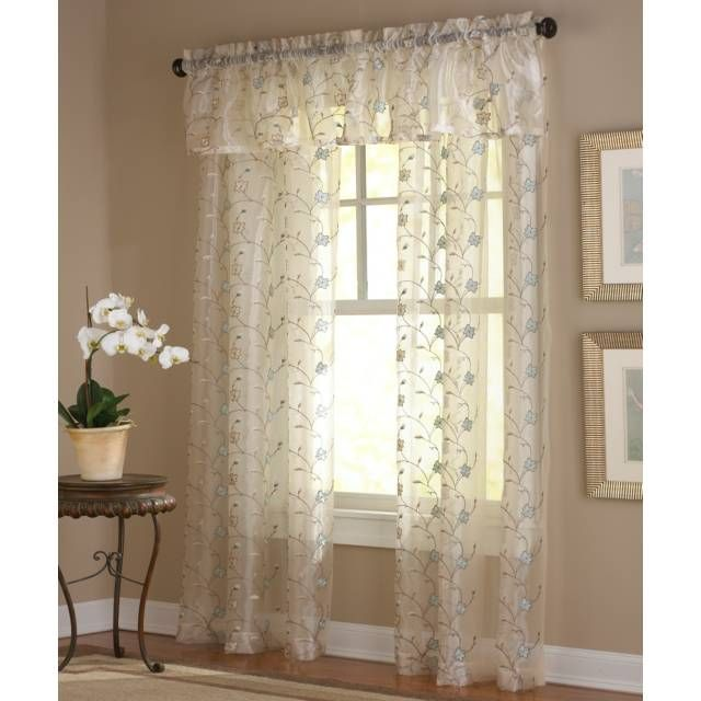 Amberly Embroidered Leaf Rod Pocket Sheer Window Curtain Panel Bed Bath Beyond Sheer Window Panels Panel Curtains Embroidered Leaves
