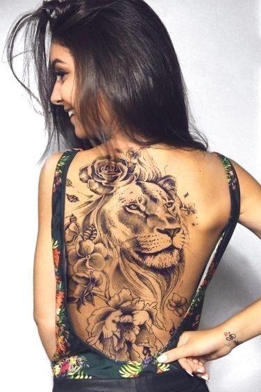 Lion Tattoos For Women In 2020 Girl Back Tattoos Tattoos For Women Back Tattoo Women