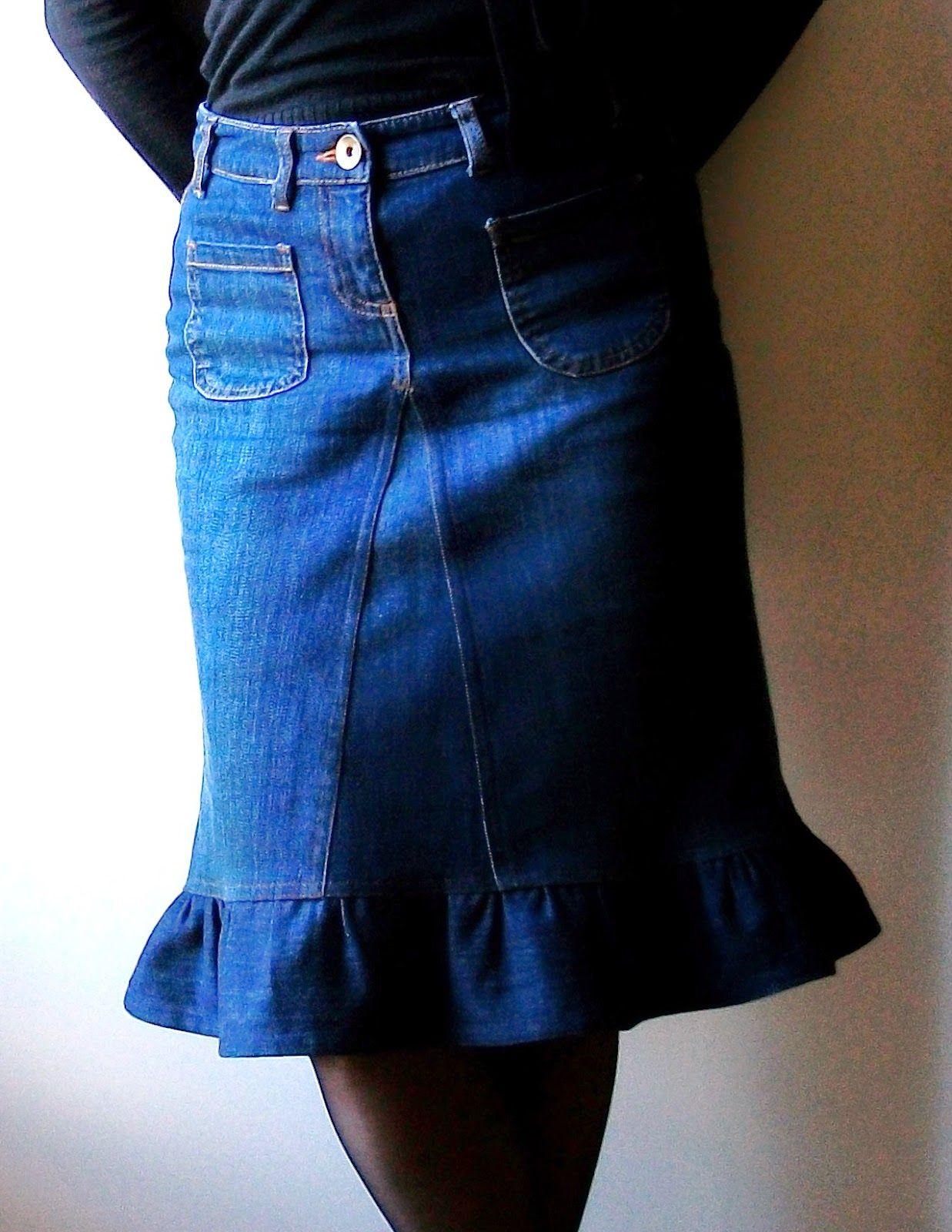 jeans denim devenus jupe volant autour de la couture. Black Bedroom Furniture Sets. Home Design Ideas