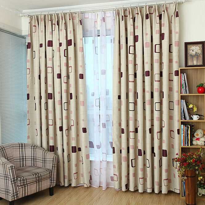 Cheap Blackout Poly Cotton Beige Geometric Curtains With Images