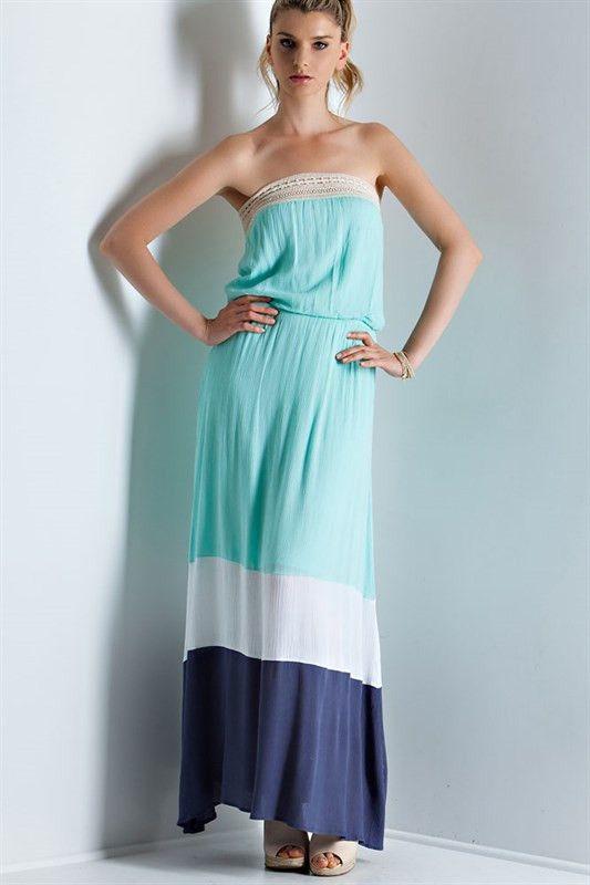 Color Block Maxi Dress - Mint Combo