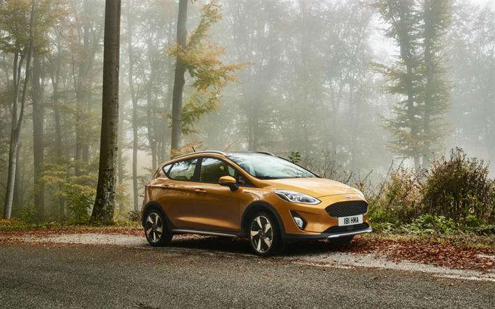 Descargar fondos de pantalla Ford Fiesta Activo de 2017, los coches, carretera de oro de la Fiesta, Ford