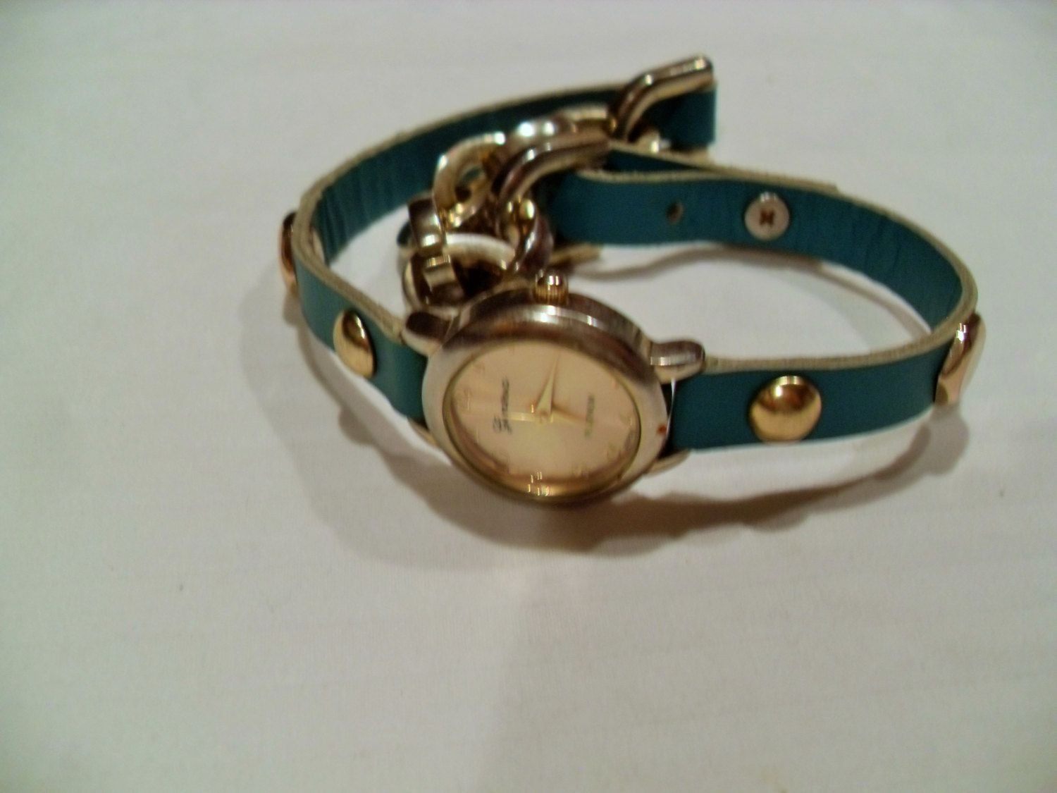 Ladies Geneva watch, double wrap, blue leather and gold tone chain, works great, gift for teen, ladies wrist watch, Gingerslittlegems by GingersLittleGems on Etsy