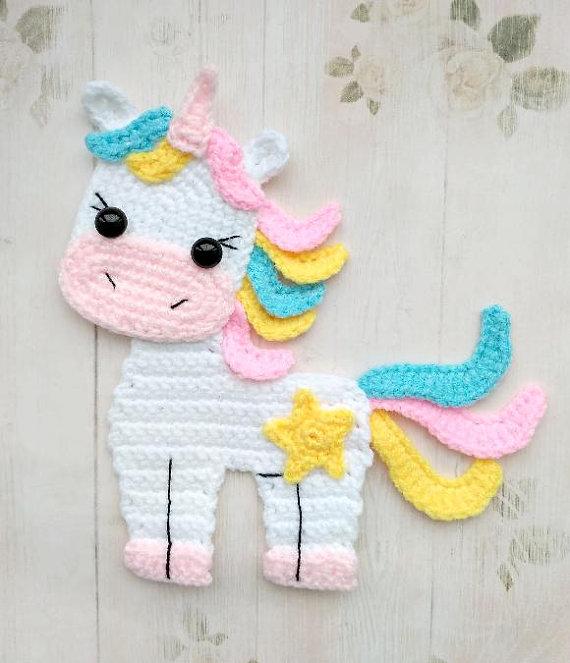 Motif Licorne Applique Crochet Pattern PDF Téléchargement instantané Baby Shower Gift Embellissement Accessoires Motif Ornement pour couverture de bébé ENG   – AMIGURUMI