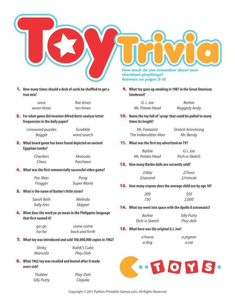 Pop Culture Games Toy Trivia 6 95 50th Birthday Party