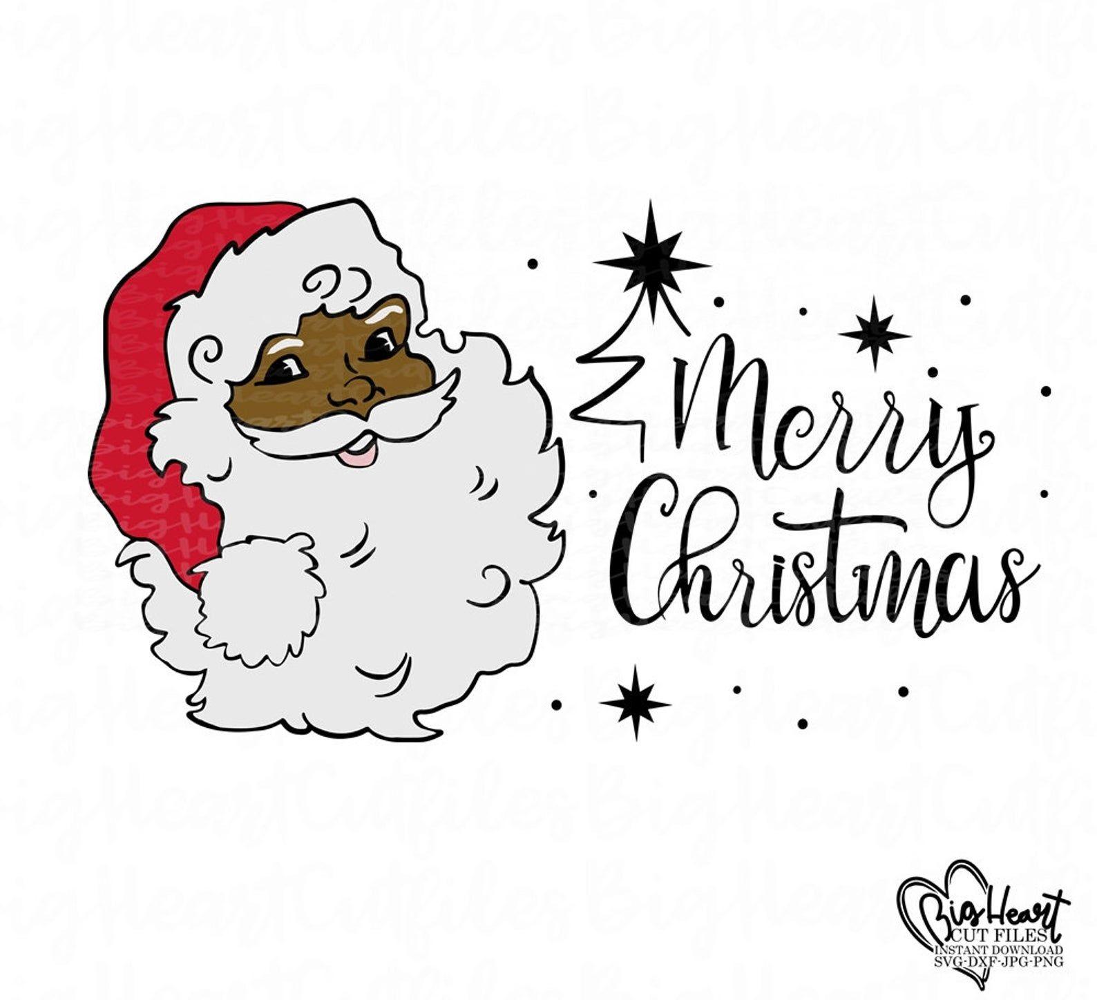 Santa Claus Svg Png Jpg Dxf African American Santa Claus Etsy Black Santa Santa Face Christmas Svg