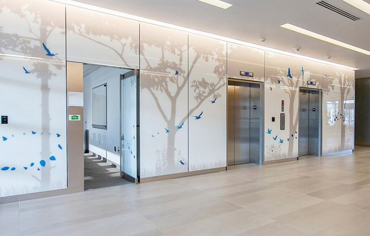 glass cladding at elevators   Hospital interior design ...