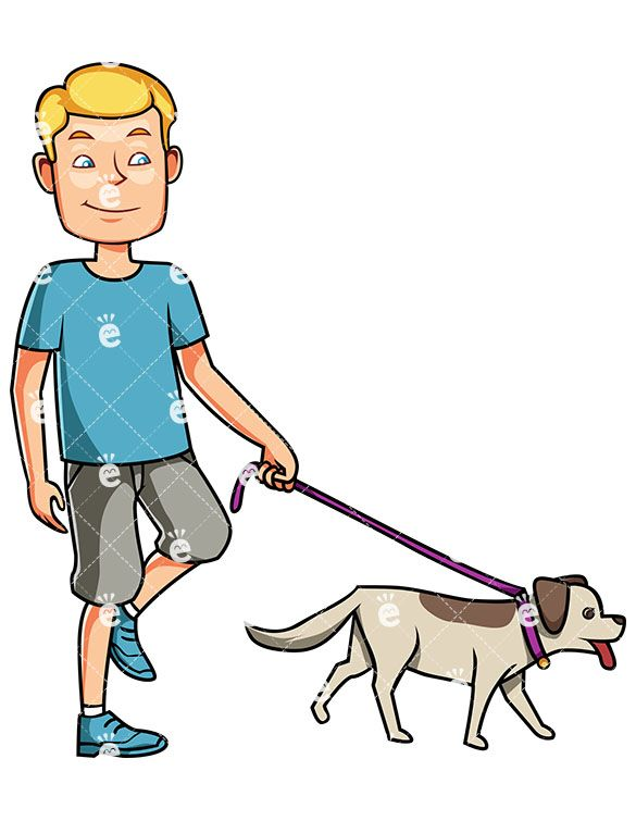 A Satisfied Man Walking His Dog On A Leash While Smiling Cartoon