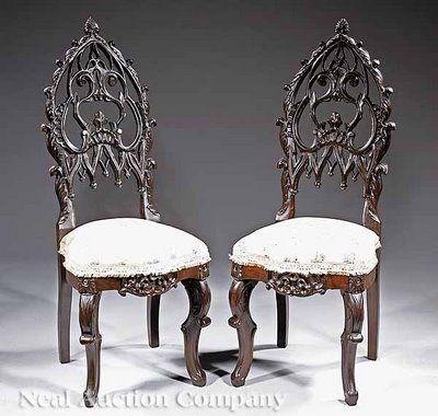 Gothic Victorian Furniture gothic victorian furniture | gothic rococo slipper chairs 793871