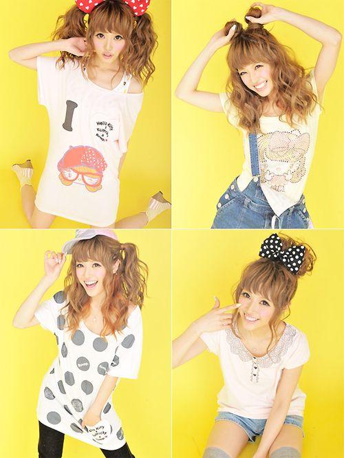 Harajuku Gal W Rainbow Eye Makeup Silver Hair In Anap: #gyaru #hairbow #ponytails #shirt