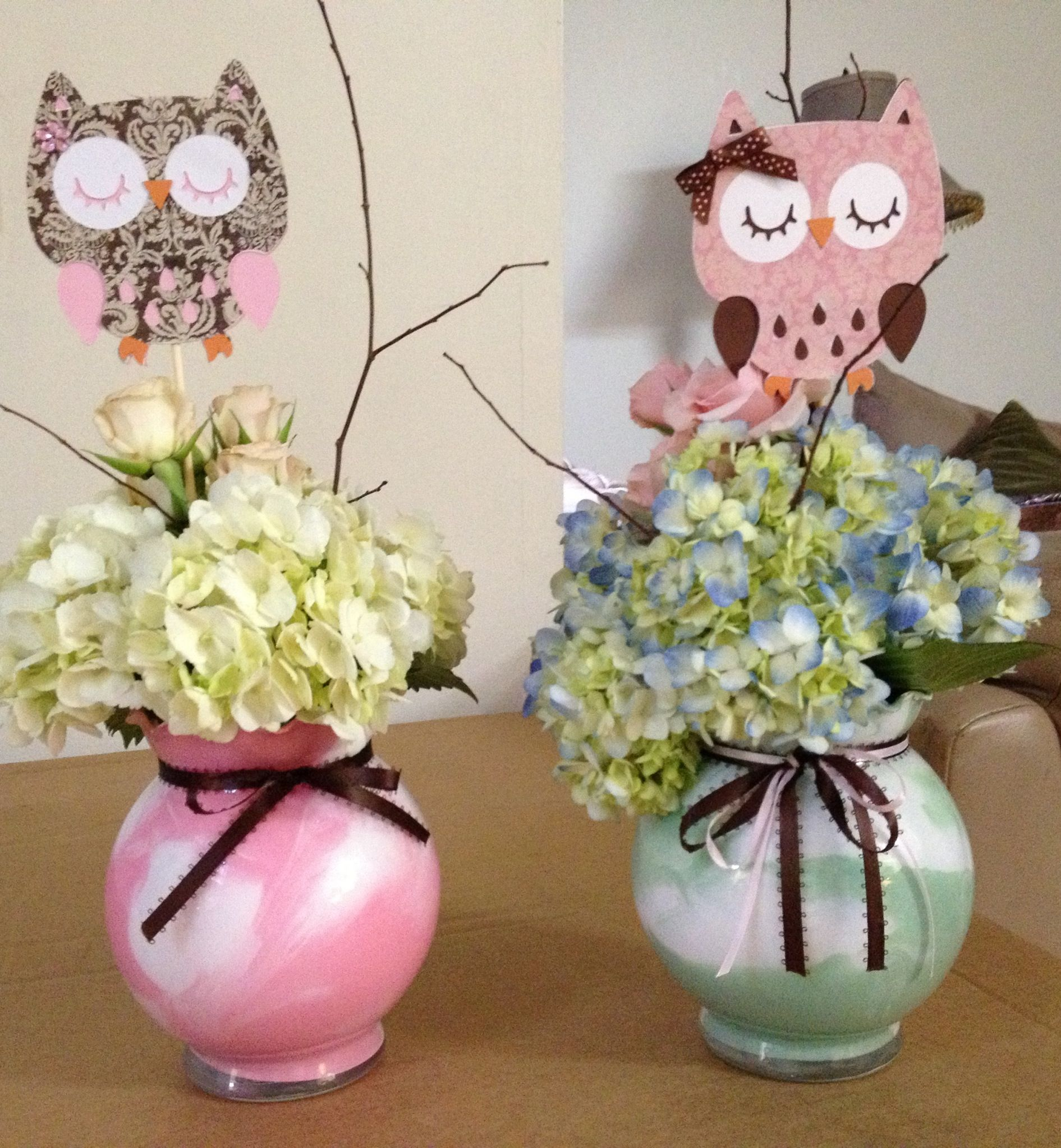 My centerpieces I made with chach21 owl babyshower decorations