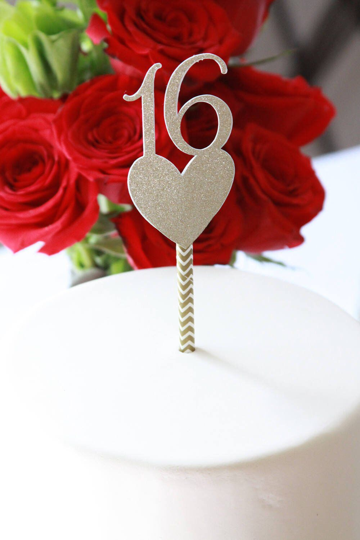Rose Gold Sweet 16 Cake Topper, Sixteen Cake Pick, Gold