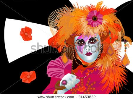 lady clown on mask, carnival suit in bright flowers