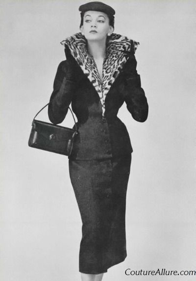 1953 Women s vintage 50s fashion photography photo image glamorous suit  leopard collar jacket skirt purse hat c2573781e35