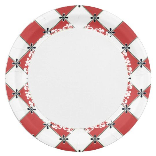 Shop French-Style--Diamond-Red-Harlequin Paper Plate created by PageStonerArt.  sc 1 st  Pinterest : diamond paper plates - pezcame.com