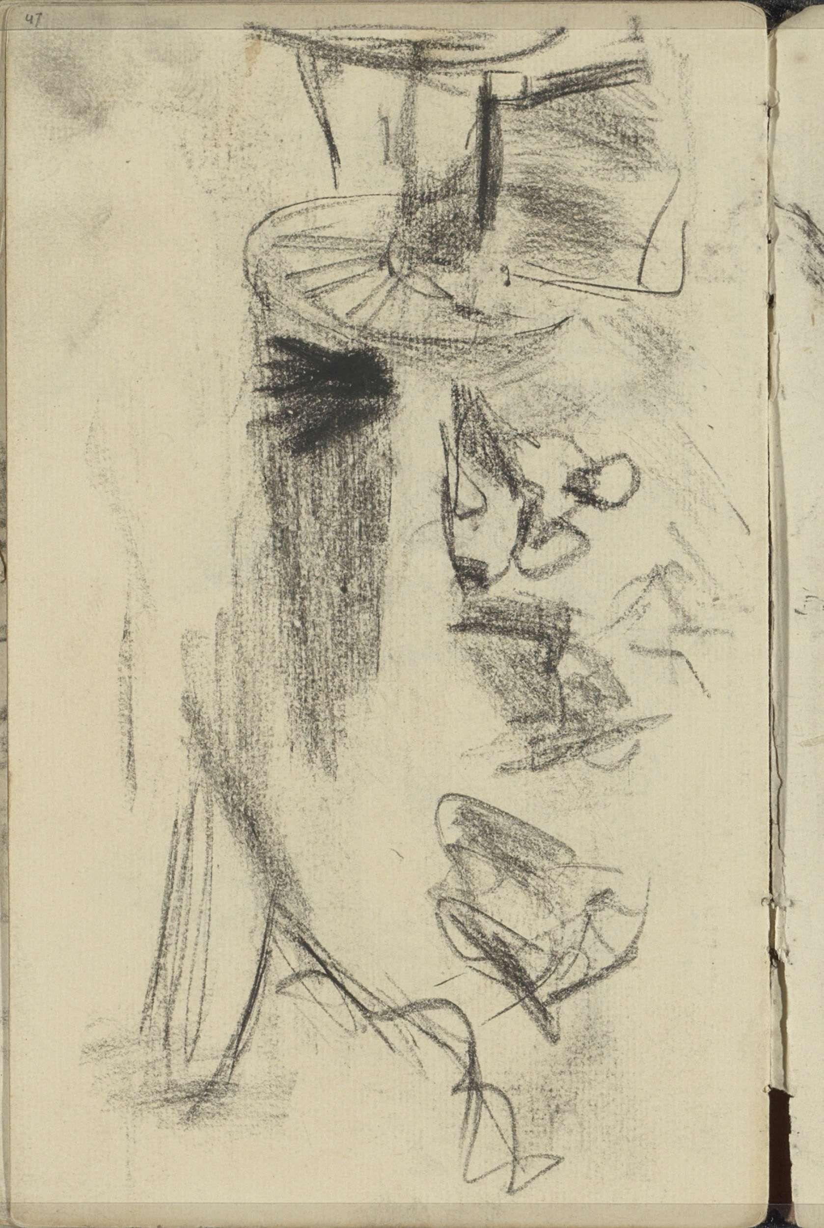 George Hendrik Breitner | Zittende figuur naast een paardenkar, George Hendrik Breitner, 1882 - 1884 | Pagina 47 uit een schetsboek met 24 bladen.