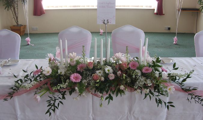 Silk Flower Arrangements For Weddings Venue Flowers Top Table Wedding Decorations At Gillingham Golf