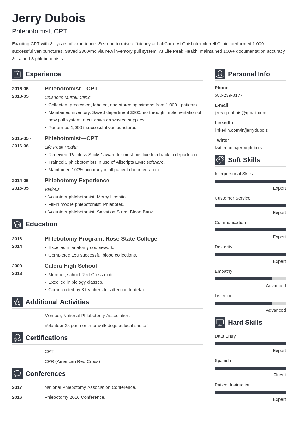 phlebotomy resume example template vibes in 2020 Cv