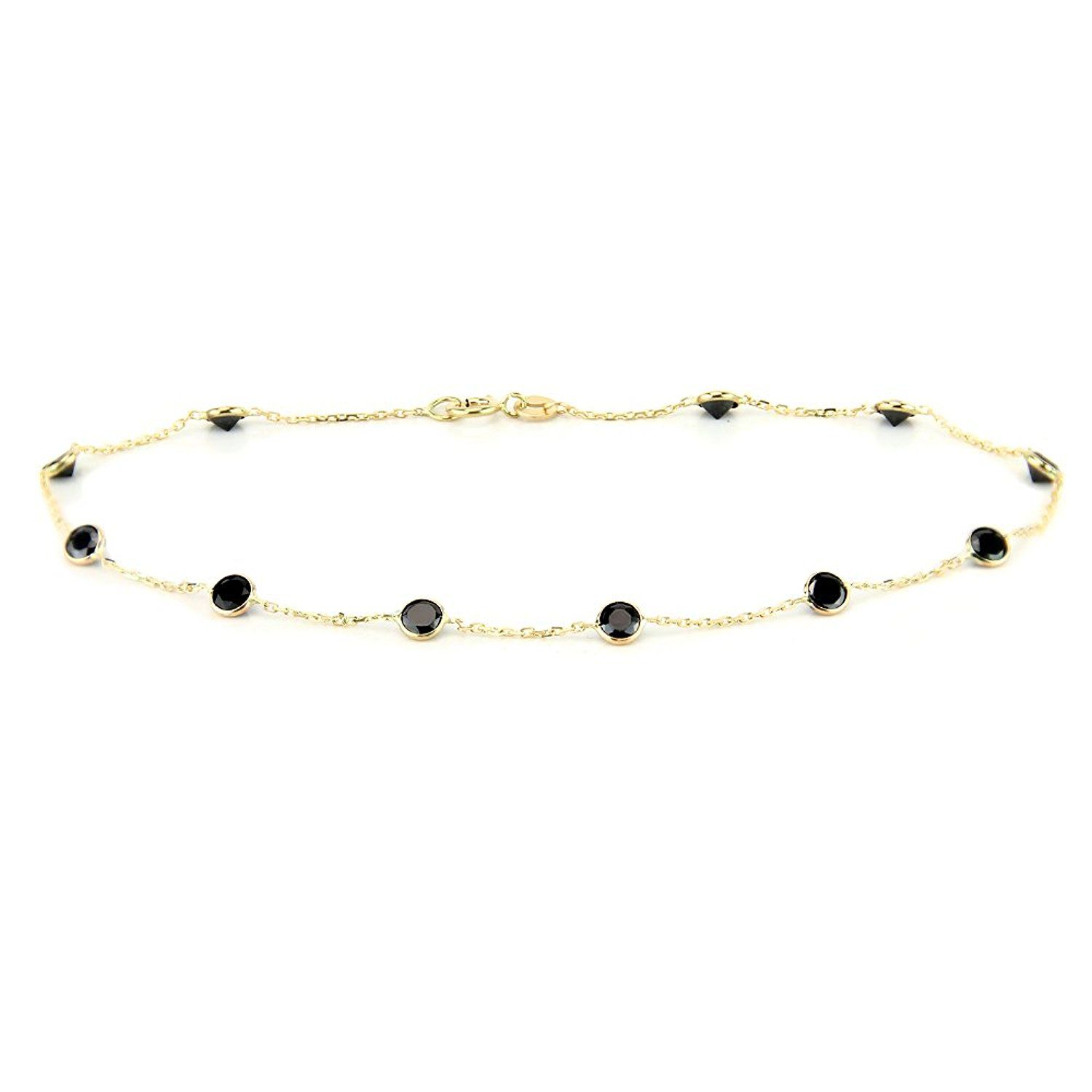 with by anklet station gold zirconia white pin yard round bracelet cubic the