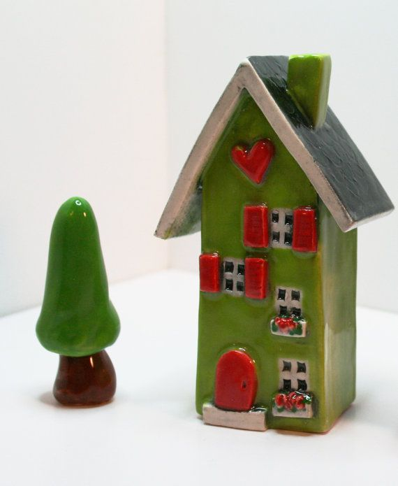 Lime Green Clay House with a Red front door by HeartHomes on Etsy, $28.00